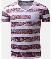 t-shirt in cotone casual a maniche corte con scollo av stampato a righe da uomo