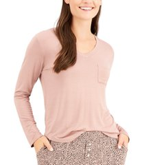 alfani long-sleeve pocket pajama t-shirt, created for macy's
