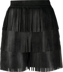 philosophy di lorenzo serafini fringed faux-leather shorts - black