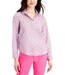 charter club petite cotton striped collared top, created for macy's