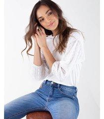 camiseta para mujer crudo manga 3/4 con mangas englobadas