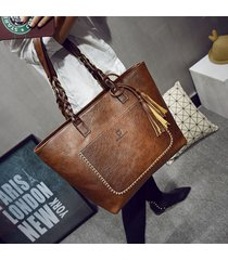 luxy moon pu leather handbag women purse tassel shopper tote luxury design sac