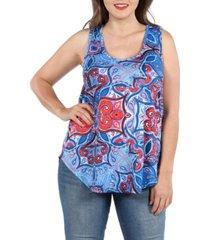 24seven comfort apparel women's plus size sleeveless round hemline tunic top