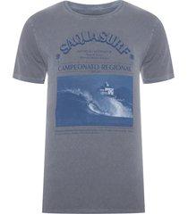 t-shirt masculina tinturada saquasurf v - cinza