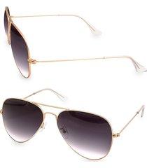 aqs women's mason 58mm aviator sunglasses - gold