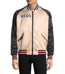 as65 men's sporty embroidered flamingo track jacket - black nude - size s