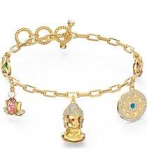 swarovski gold-tone crystal & imitation pearl symbolic buddha charm bracelet