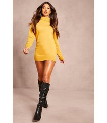 recycled roll neck sweater dress, mustard