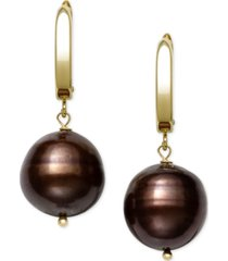 belle de mer cultured dyed tahitian pearl (8-10mm) drop earrings in 14k gold