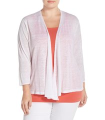 plus size women's nic+zoe '4-way' three quarter sleeve convertible cardigan