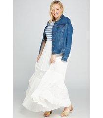 lane bryant women's lace-inset maxi skirt 10/12 white