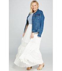 lane bryant women's lace-inset maxi skirt 14/16 white