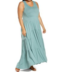 plus size women's caslon tiered smocked waist maxi dress