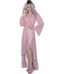 robe lámour longo yasmin lingerie manga comprida rosa