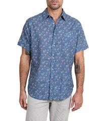 men's rails carson short sleeve linen blend button-up shirt, size large - blue