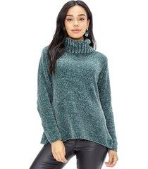 sweater chenille cuello alto verde corona