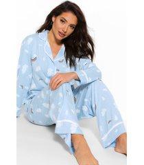 regenboog en wolken pyjama blouse en broek set, blauw