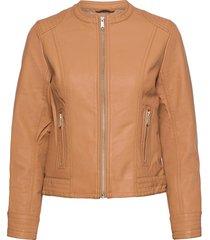 byacom jacket - läderjacka skinnjacka beige b.young