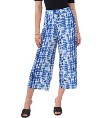 vince camuto printed crop pull-on pants, size x-large in santorini blue at nordstrom