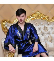 men's chinese reversible embroidery dragon kimono gown two side robe sleepwear
