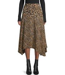 leopard-print asymmetrical midi skirt