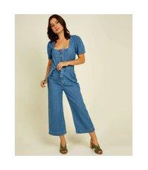 macacão feminino jeans pantacourt manga curta marisa