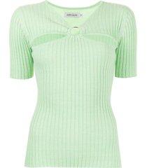 anna quan army ribbed t-shirt - green