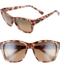 women's maui jim hanapa'a 53mm polarizedplus2 sunglasses - blush tortoise/ bronze