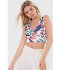 regata cropped lez a lez crista off-white/verde