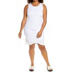 plus size women's treasure & bond ruched sleeveless jersey dress, size 3x - white