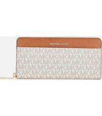 michael michael kors women's jet set pocket zip around continental wallet - vanilla