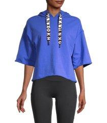 dkny sport women's cotton-blend hooded top - dazzler - size s