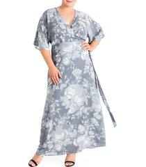 plus size women's standards & practices olivia print wrap maxi dress, size 3x - grey