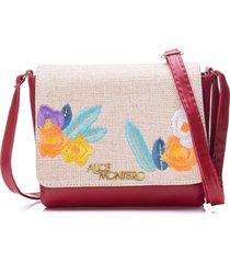 bolsa alice monteiro com tampa bordado floral - vermelho - kanui