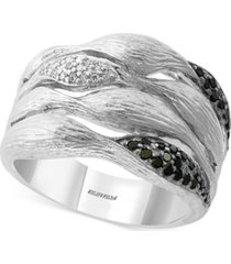 effy diamond multi-row statement ring (1/4 ct. t.w.) in sterling silver