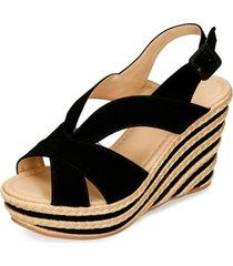 sandalias de plataforma negro bata hasum mujer