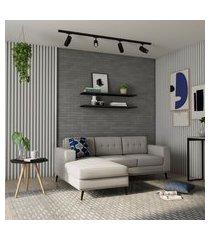 sofá 3 lugares alive com chaise esquerdo pé palito linho cotton cru