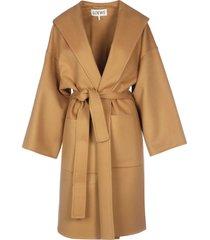 loewe hooded belted coat