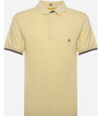fay cotton pique polo shirt with contrasting embroidered logo