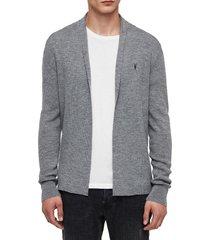 men's allsaints mode slim fit wool cardigan, size large - grey