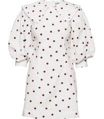 printed cotton poplin korte jurk wit ganni