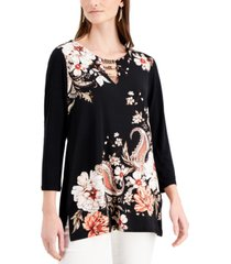 jm collection petite floral-print embellished-neck tunic, created for macy's