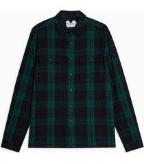 mens multi green and navy black watch check overshirt