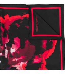 alexander mcqueen poppy print foulard scarf - black