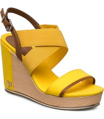 th hardw basbasic high wedge sandalette med klack espadrilles gul tommy hilfiger