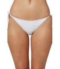 women's o'neill saltwater solids side tie bikini bottoms, size large - white