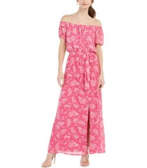 inc off-the-shoulder paisley-print maxi dress, created for macy's