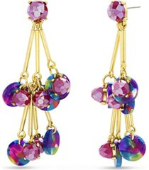 catherine malandrino rainbow drop bar dangle earring with beads and rhinestones