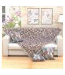 manta de sofá estampada tabaco 1,50m x 1,50m + 3 almofadas decorativas 45cm x 45cm com refil