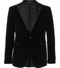 tagliatore velvet evening blazer - black